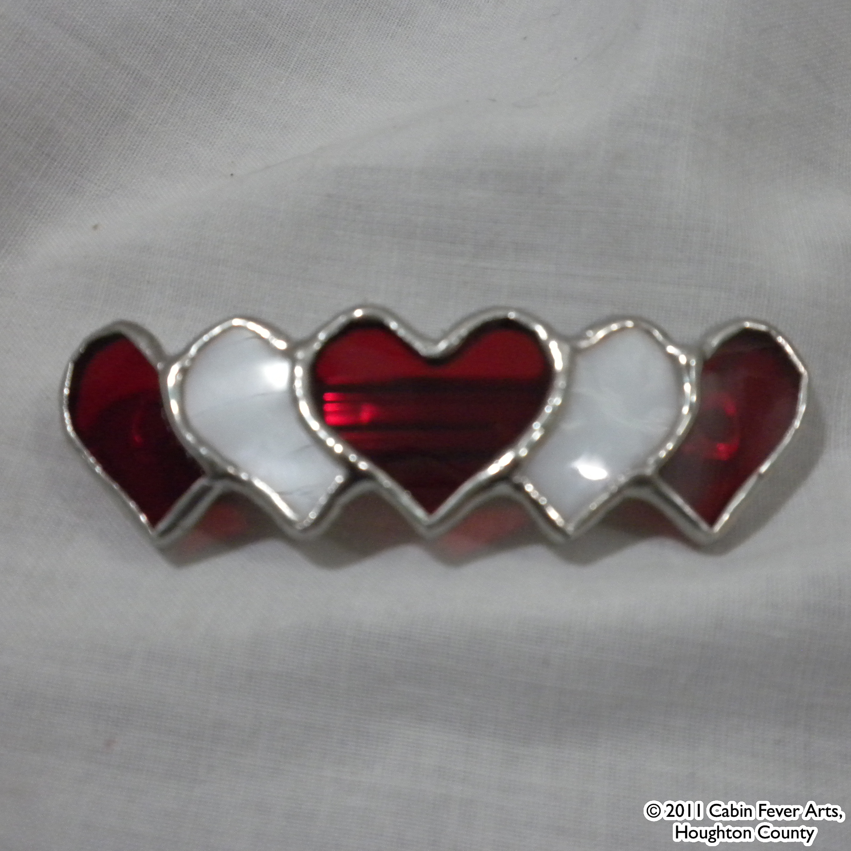 Barrette - Red Heart - 60 mm