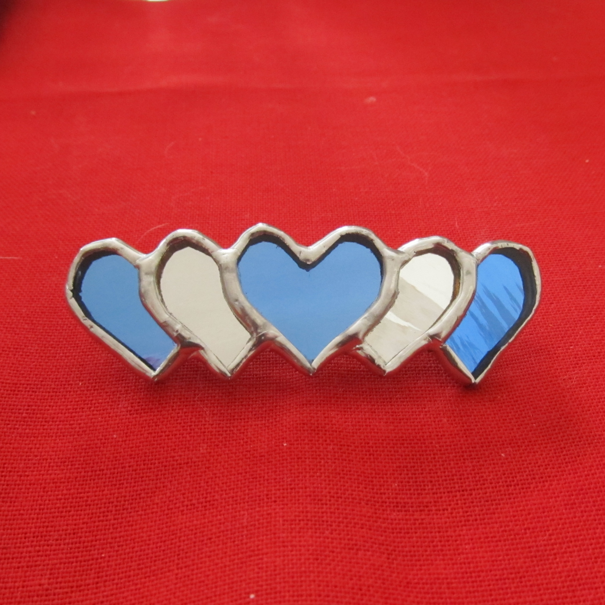 Barrette - Mirror Blue Heart - 60 mm