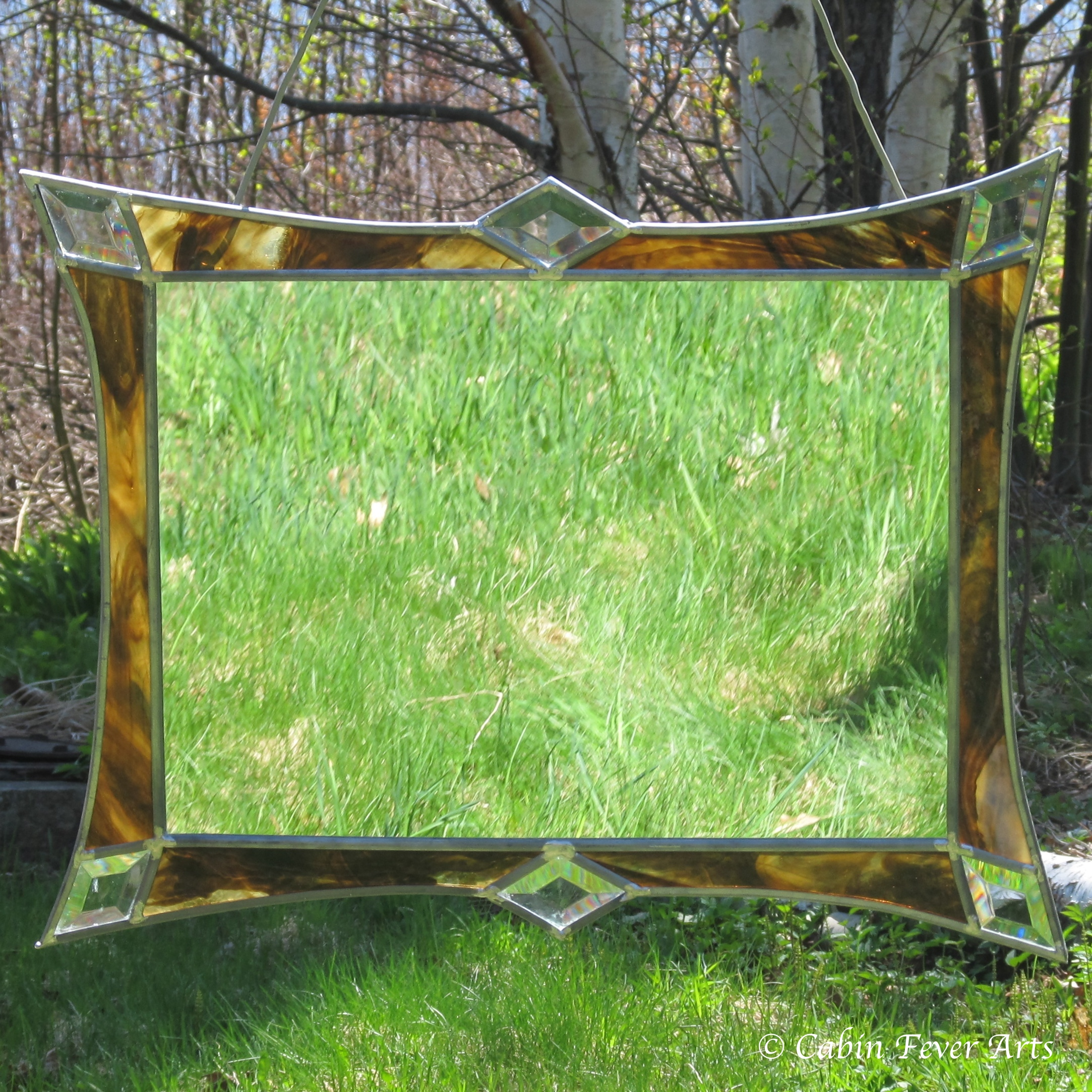 Framed Mirror - Brown with Clear Bevels