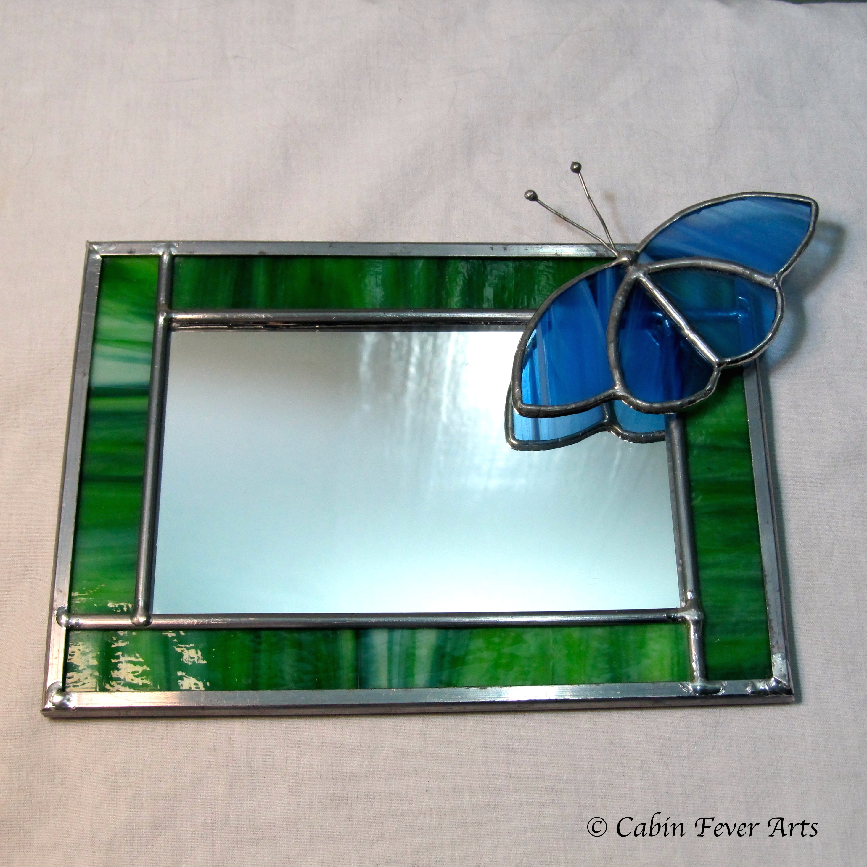 Mirror - 5 x 3 - Green with Butterfly